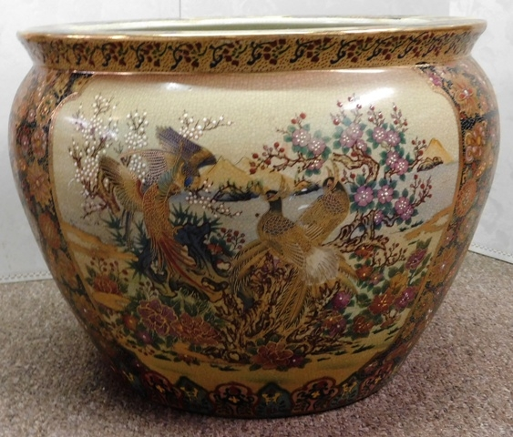 ORIENTAL FISH BOWL/PLANTER, MARKED SATSUMA