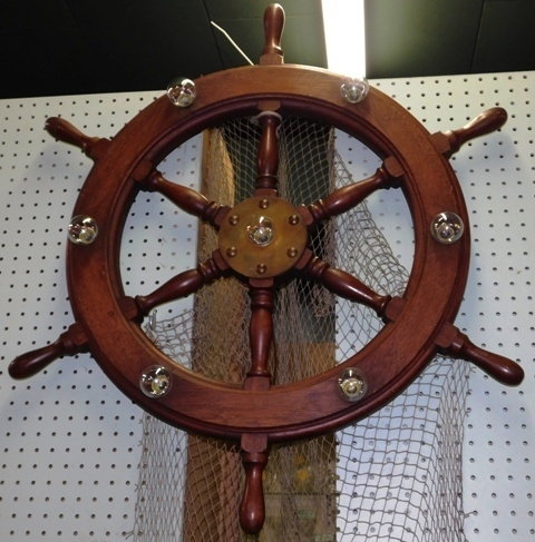View 2~VINTAGE WOOD BOAT WHEEL CONVERTED TO LIGHT FIXTURE (CEILING OR WALL HUNG)