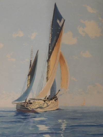View 2~FR-MATT-SIGNED ART WORK OF SAILING VESSEL
