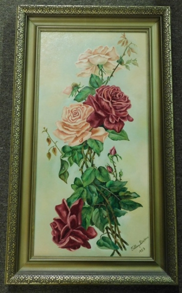 FR-SIGNED OIL ON CANVAS (RED & PINK ROSES)
