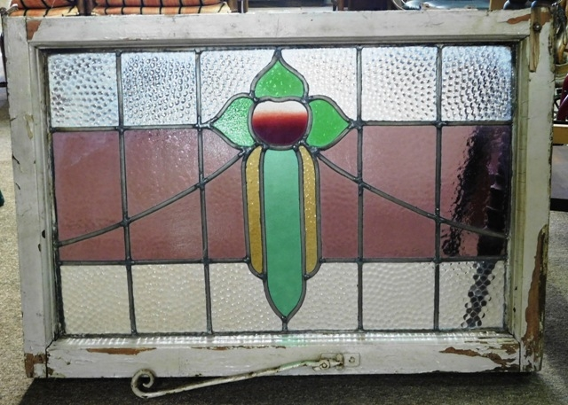 STAINED GLASS WINDOW W/FRAME, 30X21""