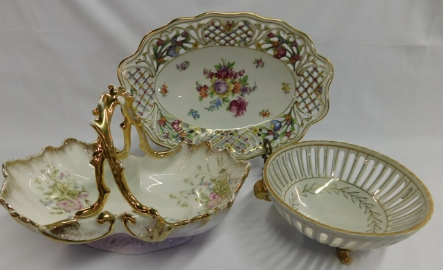 GERMANY HANDLED BOWL/BASKET; SCHUMANN PIERCED EDGE BOWL...