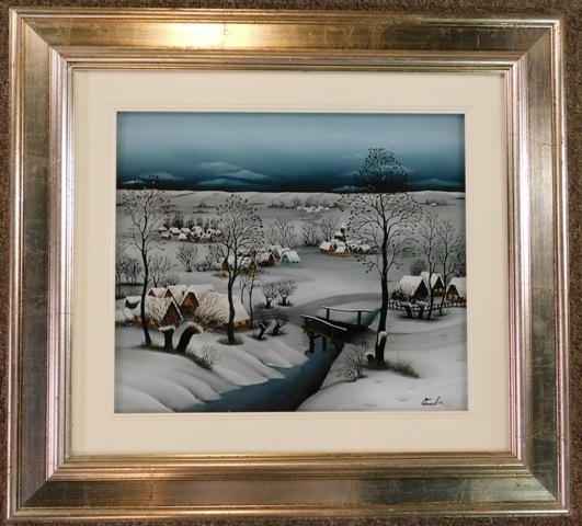 FRAMED 12X14 REVERSE PAINTING ON GLASS - COUNTRY SIDE SNOW