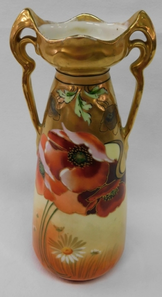 "9-1/2"" SIGNED PICARD VASE, POPPY DESIGN"