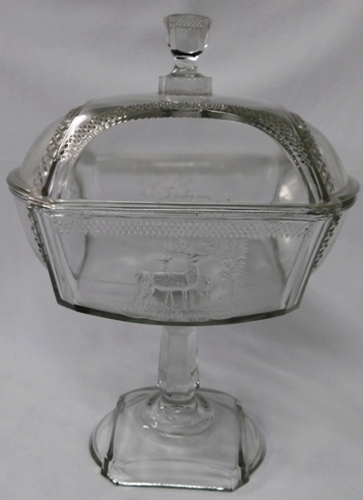 "12-1/2"" PRESSED GLASS JELLY COMPOTE, DEER & TREE DESIGN"
