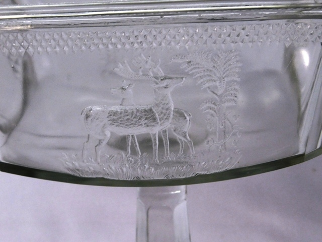 "View 2~12-1/2"" PRESSED GLASS JELLY COMPOTE, DEER & TREE DESIGN"