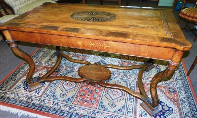17th CENTURY DUTCH TABLE, PARQUETRY TOP, SIDES & STRETCHERS FROM OXFORD UNIV.