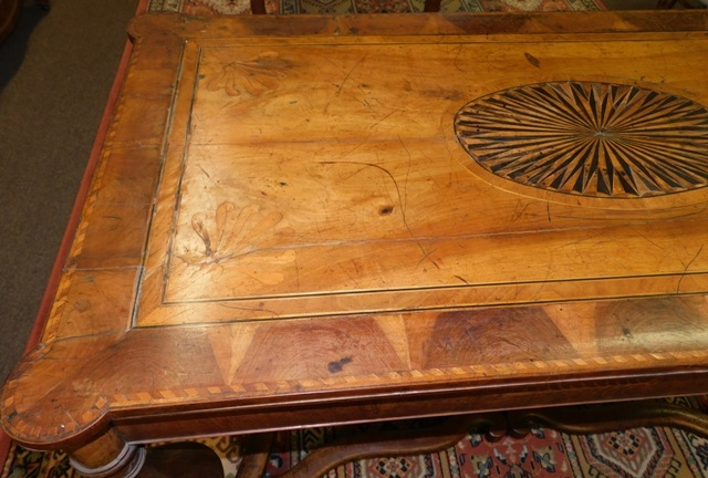 View 4~17th CENTURY DUTCH TABLE, PARQUETRY TOP, SIDES & STRETCHERS FROM OXFORD UNIV.