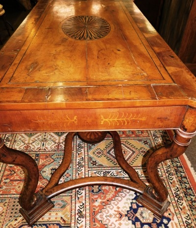 View 6~17th CENTURY DUTCH TABLE, PARQUETRY TOP, SIDES & STRETCHERS FROM OXFORD UNIV.