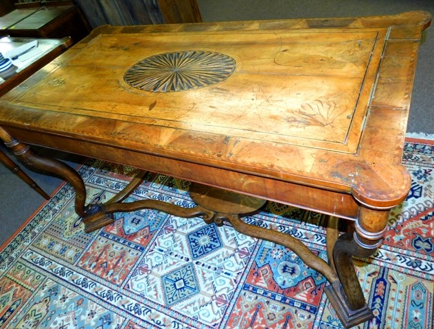 View 7~17th CENTURY DUTCH TABLE, PARQUETRY TOP, SIDES & STRETCHERS FROM OXFORD UNIV.