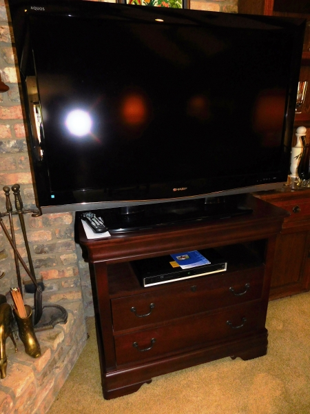 "SHARP 46"" TV & DIGITAL VIDEO RECORDER-52 + 2-DRAWER BROYHILL TV STAND, OPEN SHELF W/OTHER ELEC. EQUIPMENT"