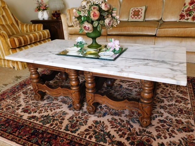 DOUBLE PEDESTAL OAK COFFEE TABLE, WHITE MARBLE TOP - 6