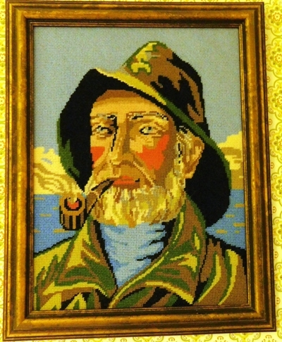 FRAMED NEEDLEPOINT~ Fisherman with Pipe