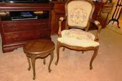 1950'S FRENCH STYLE ARM CHAIR, TAPESTRY UPHOL ~ BRANDT FURN. SMALL OVAL FRENCH STYLE SIDE TABLE-54, 55