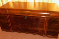 1940-50'S WATER-FALL FRONT CEDAR CHEST, MARQUETRY-65